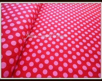 Hot Pink on Red Berry Dot Ta Dot Michael Miller Fabric