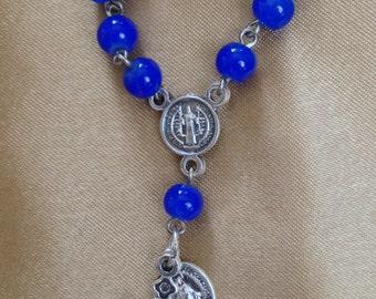 PR008 Blue Glass Bead Pocket Rosary