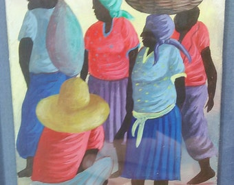 Old Vintage Original Haiti Haitian Art Market Scene Figurative Painting Signed Original