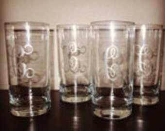 Glass Set with Custom Monogram - 4 Glass Set