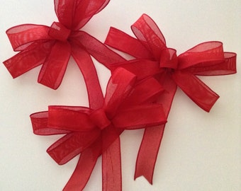 Christmas Red Burlap Bows /  Red Bows / Xmas Red Decorative Bows  / Set of 3 / Christmas Tree Decor / Handmade and Design in wired ribbon
