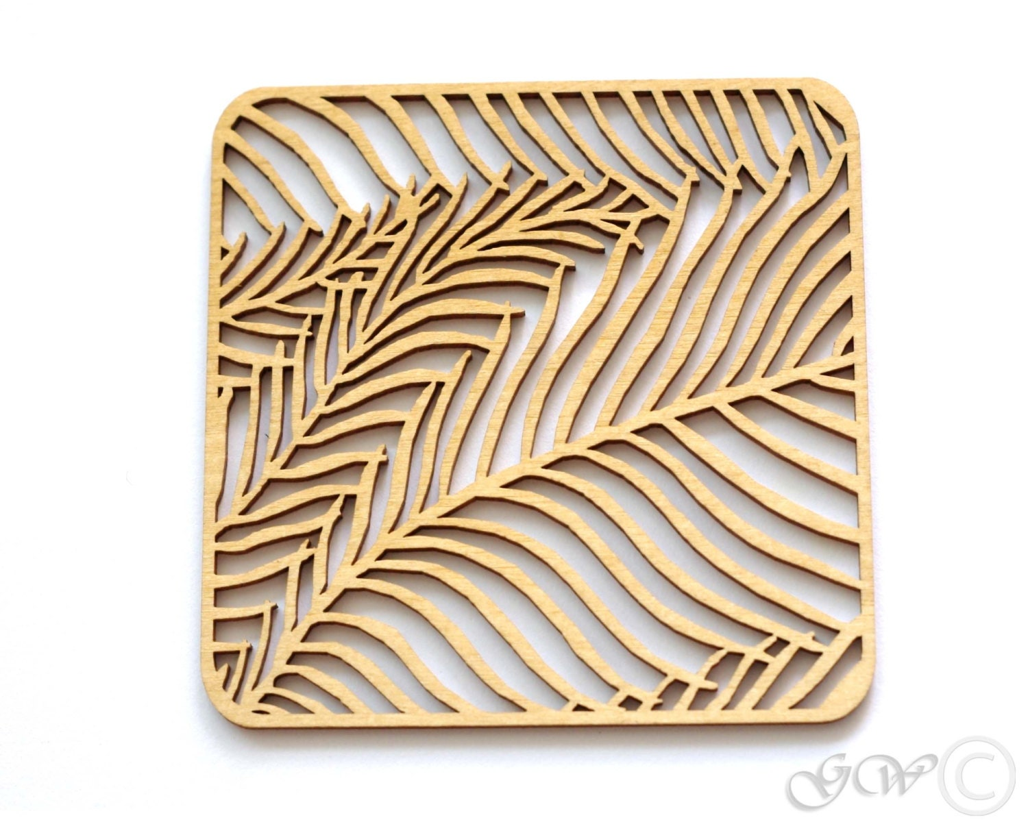 Laser Cut Wood Coaster. Birch Coaster.