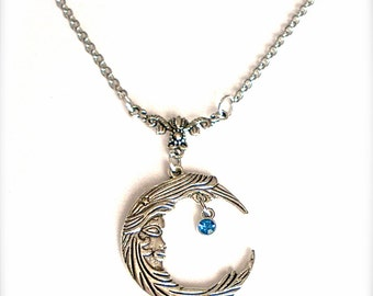 Silver Crescent Moon Necklace - Aquamarine Rhinestone - Birthday gift - Crescent Moon Aquamarine Rhinestone Necklace - Romantic Gift for Her