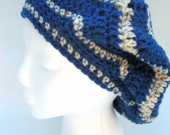 blue crochet beret hat, blue slouchy, crochet tam, chevron ripple hat
