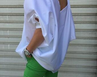 White Extravagant Shirt / Asymmetric Cotton shirt / Oversize white shirt / White asymmetric top / EXPRESS SHIPPING / MD 10606