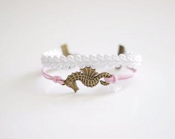 Seahorse White Pink Cord Bracelet