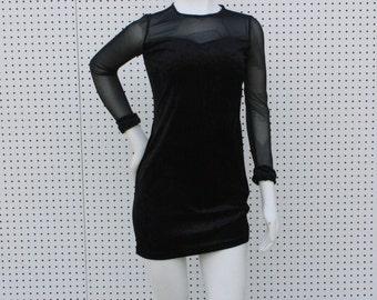 Black Velvet and Mesh Long Sleeved Mini Dress - XS