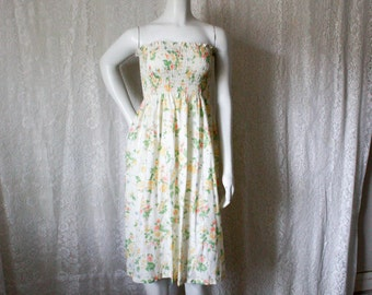 SALE - Strapless Yellow Floral Dress - S/M/L