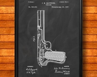 "Retro 1897 ""Firearm"" by Browning, Vintage Patent Illustration, Art Print Poster, Wall Art, Home Decor, Gun, Handgun, Shooting, Gift Idea 881"