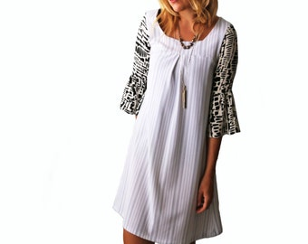 Handmade Black and White Striped Yoked Shift Dress with Flounce Sleeves
