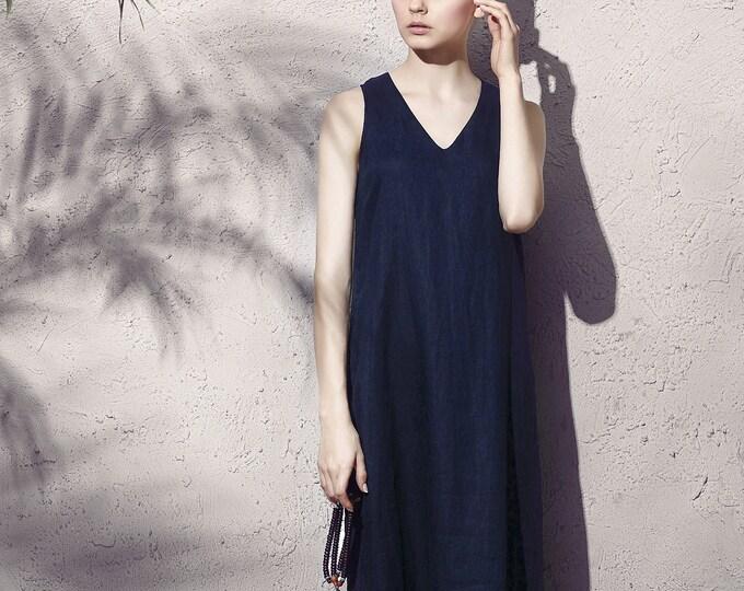 Women dress - Sleeveless Dress - V neck - Summer dress - Retro dress - Linen dress - Made to order
