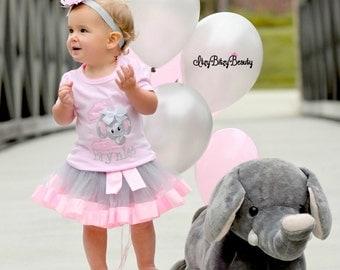 Elephant First Birthday - Baby Girls Pink Grey Chevron - First Birthday Outfit - Elephant Shirt - Outfit - Ribbon Tutu - Headband - Pink