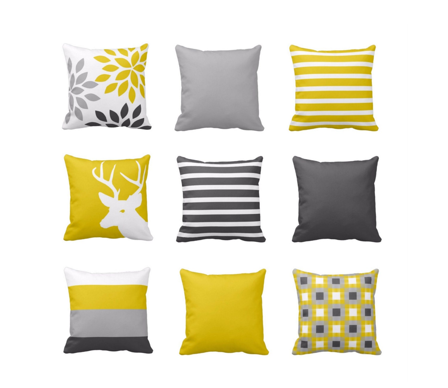 Throw Pillow Mustard Yellow Grey White Couch by HLBhomedesigns