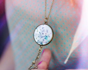 Double-sided necklace custom resin Chacha by Iris CD58-T9