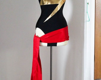 Miss Marvel Leotard Cosplay and Sash - Superhero Classic Comic Book Spandex Costume - MADE TO ORDER