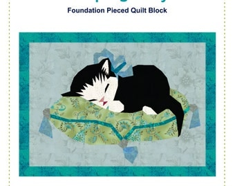SLEEPING KITTEN Quilt Pattern Instant Download Paper Pieced Quilt Pattern Foundation Pieced Quilt Block Pattern Cat quilt Pattern Kitty