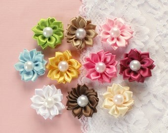 10 Pcs Pretty Frilly Flowers With Center Pearl Appliques - 35mm