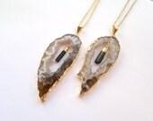 Double Gemstone Necklace Geode Tourmaline Necklace Ocho Geode Black Tourmaline Jewelry Gold Edged Geode Gold Dipped Tourmaline Stone Jewelry