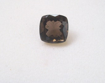 19 mm or 20 mm NATURAL SMOKEY QUARTZ  square cushion top cut faceted gemstone.....