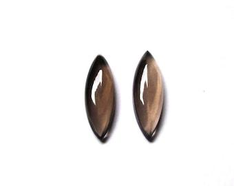 GEMSDEAL 26X8 mm Marquise pair Natural genuine Smokey Smooth Cabochon pair gemstone.....