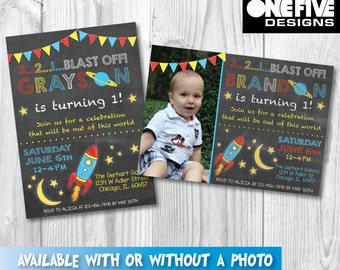 Outer Space Chalkboard Birthday Invitation - Printable (5x7) [with or without photo]