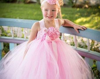 Pink Flower Girl Tutu Dress, Blush Pink Flower Girl Dress, Pink and Blush Pink Flower Girl Tutu Dress, Light Pink Flower Girl Dress