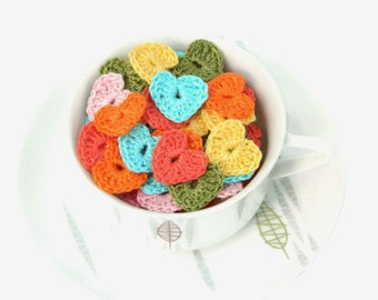 Crochet applique patch heart 50pc gift decor cardmaking scrapbooking party decorations wedding decor embellishments home decor