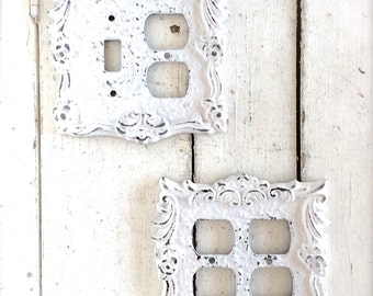 Shabby Chic Decor Switch Plates Switch Plate Outlet Combo Outlet Plate White