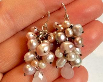 Multi-Colored Cultured Pearl & Rose Quartz Grape Cluster Silver Drop Earrings