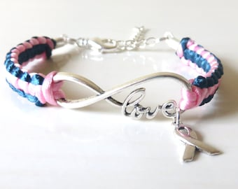 Thyroid Cancer/Disease LOVE Awareness Ribbon Charm Bracelet with Optional Hand Stamped Letter Initial Charm