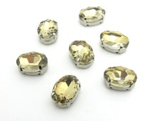 10 Pieces 8x10mm Light Brown Oval Sew On Rhinestones|Glass Stones|Metal Claw Clasp|4 Hole Silver Setting|Bead Jewelry Supplies Decoration