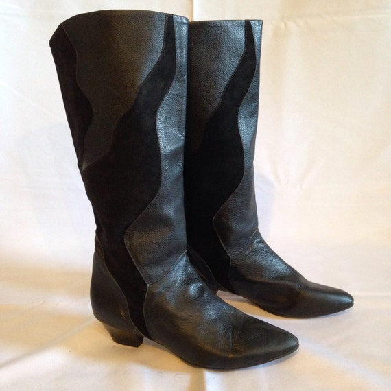 vintage 80s black leather suede slouchy boots by