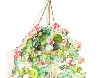 "Hanging Flowers Painting - Print from Original Watercolor Painting, ""Hanging Geraniums"", Botanical, Red Geranium, Watercolor Flowers"