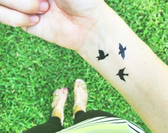 tiny bird tattoos flying birds temporary tattoo valentines day gift for her bohemian tattoos best friend fake tattoos small sparrow tattoos
