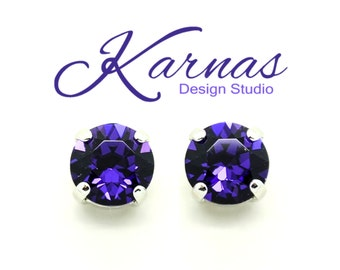 Discontinued PURPLE VELVET 8mm Crystal Stud or Post Earrings Made With Swarovski Elements *Pick Your Finish *Karnas Design Studio *Fr