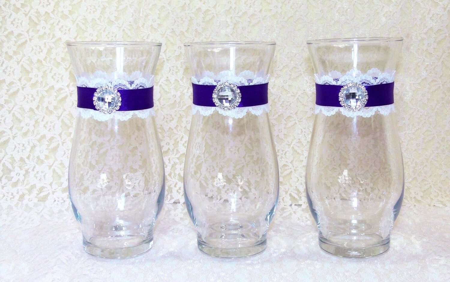 Wedding Vases Custom You Choose Ribbon And Lace Color Glass