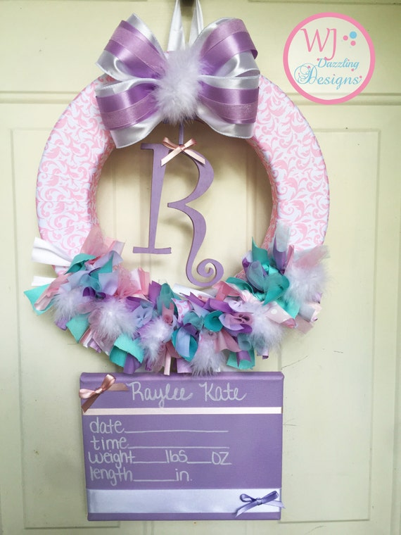Baby door hanger hospital door wreath by wjdazzlingdesigns for Baby hospital door decoration
