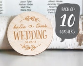 Pack of 10: Personalized Wedding Coasters  |  Birch Coasters |  Laser Cut