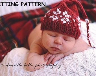 PDF KNITTING PATTERN, Snowflake Elf Baby Hat Kitting Pattern, Christmas Baby Hat Knitting Pattern, Newborn Photo Prop Hat Pattern
