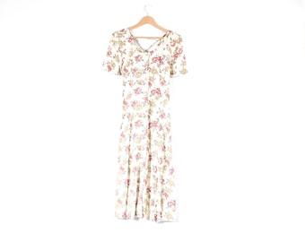 Vintage 90s grunge ditsy floral print criss cross back dress S