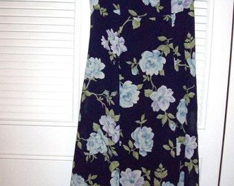 Sheath Shift Dress 8,  Maxi Gardenias  on Midnight, Lined Summer Enchanting Dress 8-10