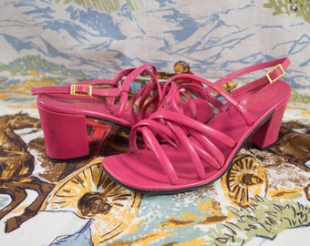 Vintage 1960 Barbie Pink Leather Chunky Heel Shoes