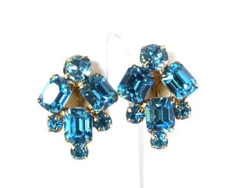 Blue Earrings - Vintage, Gold Tone, Blue Rhinestones, Screw Back Earrings
