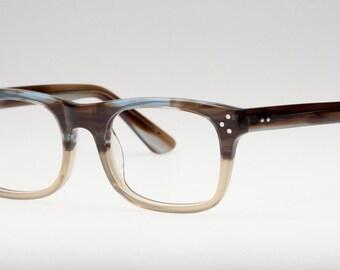 Classic wayfarer glasses, Retro inspired eyeglasses, Reading glasses, Blue and brown brushed frame design