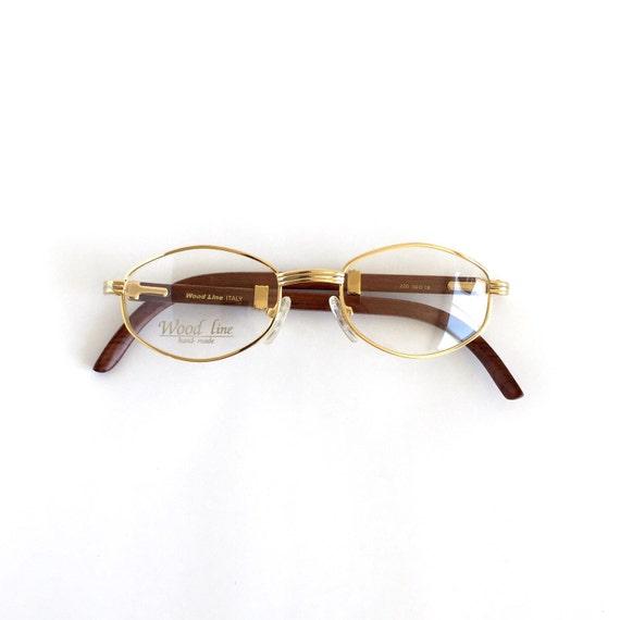vintage gold wood bamboo eyeglasses eyewear by lookeyewear