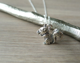 Sterling Silver Squirrel Necklace, Woodland Jewelry, Squirrel with a Nut, 3D Squirrel