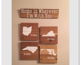military gift, PCS gift, home is with you, home state signs, military family signs, duty station sign