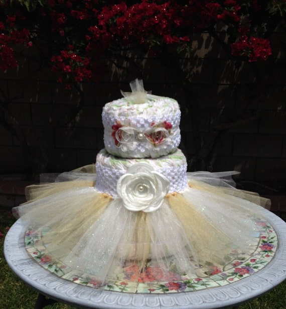 Items similar to tutu diaper cake kit vintage inspired