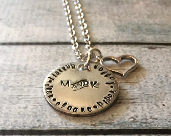 Family necklace - Hand stamped necklace - Children's names on a necklace - Family jewelry - Personalized necklace
