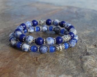 Boho Blue Sodalite Stretch Bracelets, Stacking Bracelets, Yoga Bracelets, Gift Idea, Gift for her